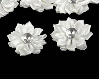 5 flowers in ivory satin Heart Rhinestone 55 mm