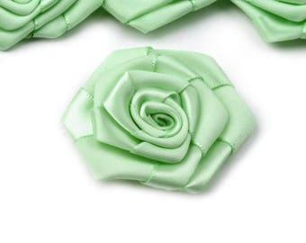 3 big green 5 cm satin flower