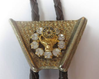 Handcrafted  BPOE  Elks Fraternal Order Bejeweled Bolo Tie IC Lot 13