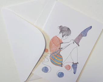 Knitster Girl Sock Greeting Card