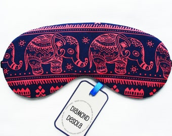 Eye Sleep Mask,Cotton Elephant Print Gift Travel Camping Blackout - UK Made