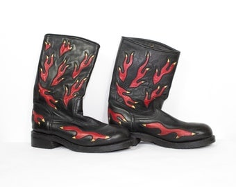 cowboy boots black leather + flames - caborca -  mens size 10.5