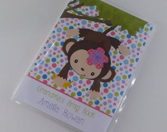 Photo Album Monkey Photo Album Girl Photo Album Personalized Photo Album 4x6 or 5x7 Picture Book Baby Shower Gift 657
