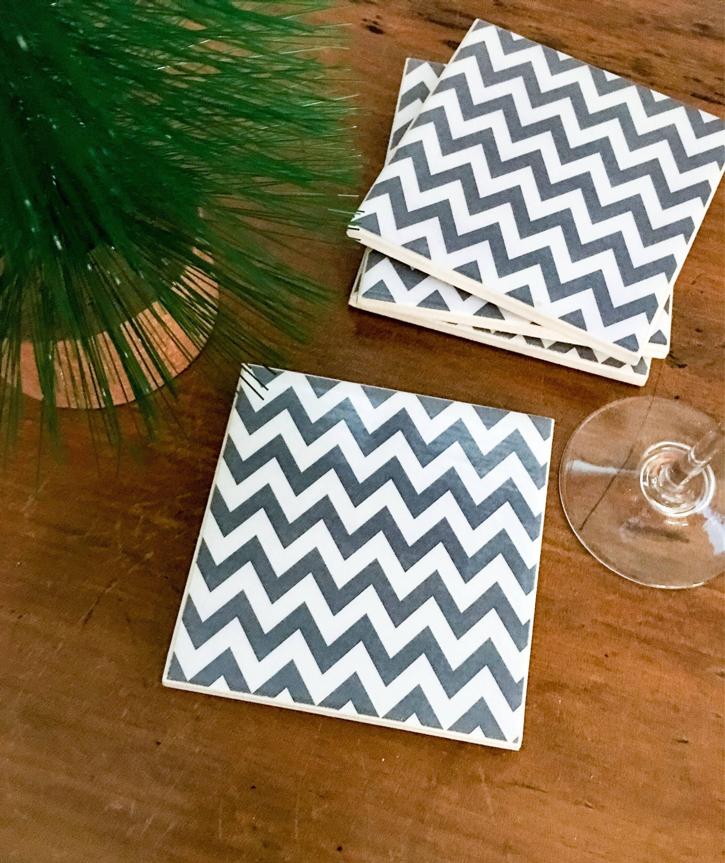 Ceramic tile coasters grey chevron doublecrazyfo Images