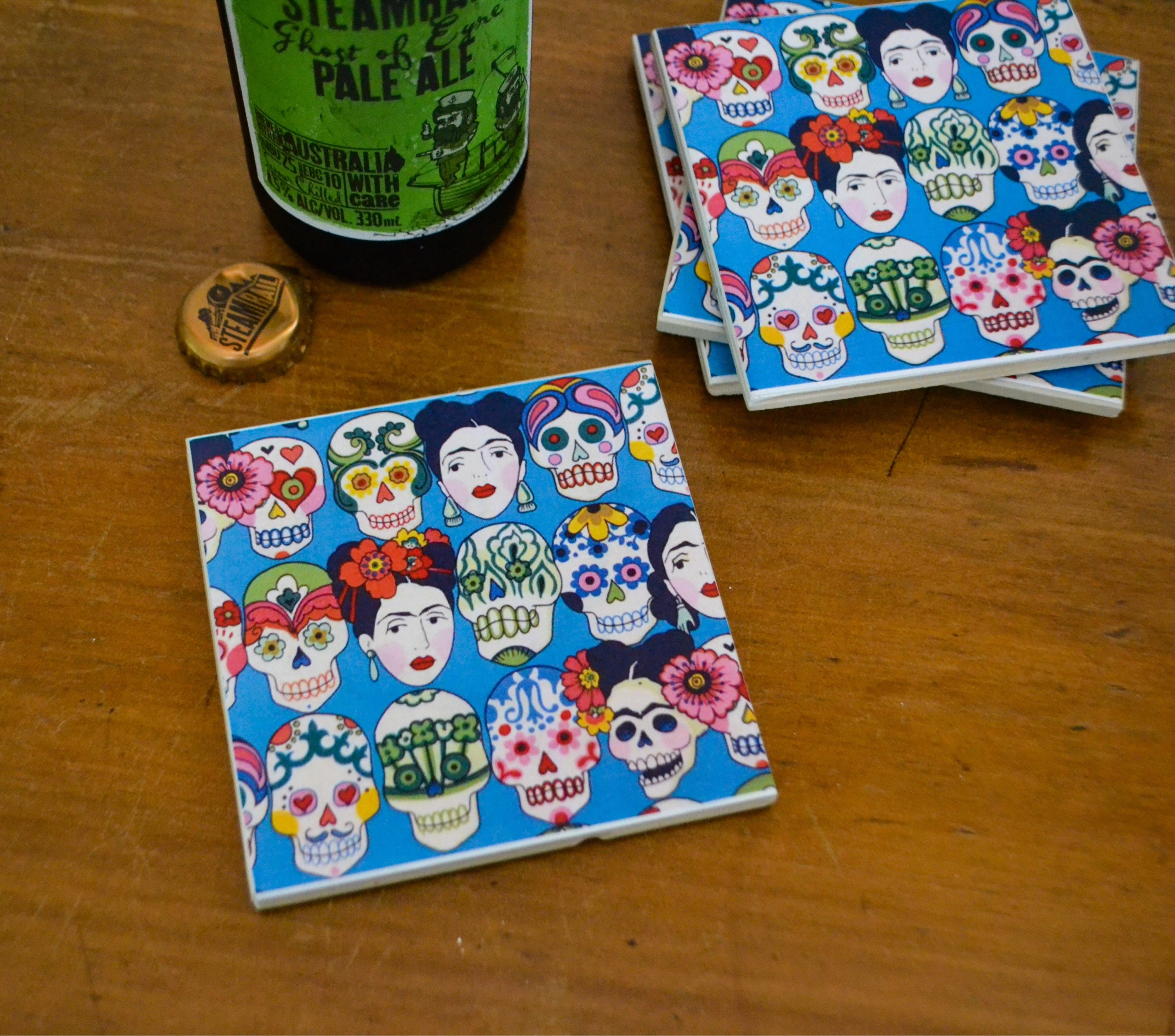 Ceramic tile coasters day of the dead dailygadgetfo Images