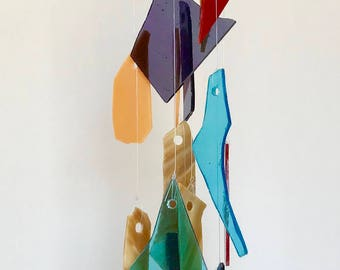 Stained glass hanging mobile sun catcher, stained glass mobile, sun catcher, handmade glass wind chime, glass sun catcher, glass wind chime