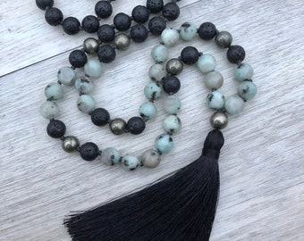Nurture Mala ~ Lotus Jasper, Pyrite and Black Lava Stone ~ Hand Kotted, 108 Bead Mala Necklace, Tassel Necklace, Diffuser Jewelry