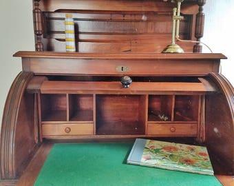 Burled walnut Eastlake roll top desk