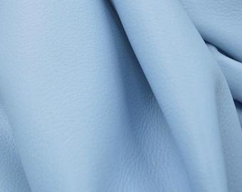 """Leather Cow hide side 23 Sq Ft Charming Baby Blue """"Signature""""  2 1/2-3 oz flat grain DE-54674 (Sec. 9,Shelf 7,B)"""