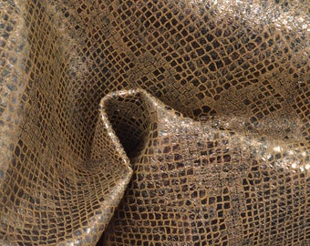 "Fashion Illuminated Metallic Lantern Snake Print Leather Pig Hide 12"" x 12"" Project Piece 1 1/2 oz TA-56943 (Sec. 5,Shelf 2,B)"