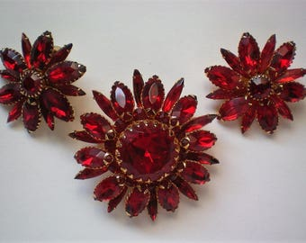 Signed Judy Lee Brooch with Earrings Jewelry Set - 5485