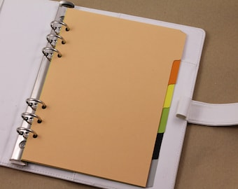 Set planner dividers A5, dividers for Filofax and Kikki k, cardboard dividers peach, orange, yellow, green, black and grey