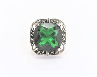 Vintage Sterling Large Green Rhinestone Marcasite Ring Size 5.25