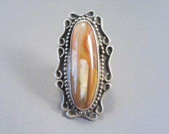 Large Vintage Southwestern Sterling Agate Ring Size 7