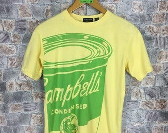 Vintage ANDY WARHOL T shirt Small 90's Andy Warhol Campbell's Soup Cans Art Artwork Streetwear 80's Graffiti Yellow T shirt Size S