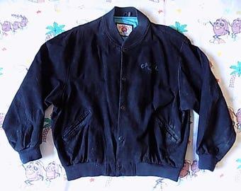 Vintage 90's Camel Styles Suede Jacket, size XL Camel Cigarettes smokes Joe Camel promo Genuine Leather