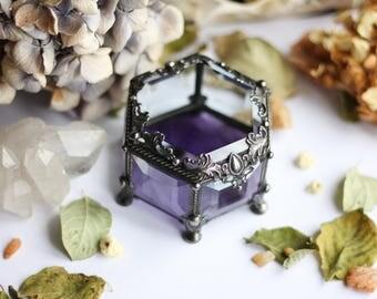 "Glass Box "" caramel of violets"", engagement ring box, geometric glass box, stained glass box, wedding ring box, ring box, ring holder, box,"
