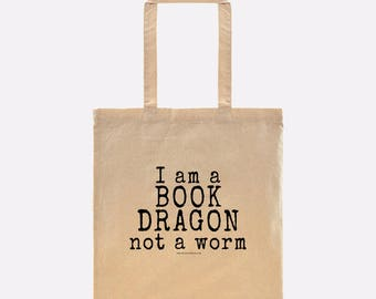 I am a BOOK DRAGON not a worm - This bookish tote is perfect for your library books AND summer road trips to the beach!