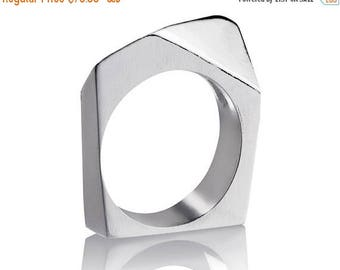 ON SALE Diagonal Shaped 925 Pure Silver Statement Ring, 3 Dimensional Large Minimalist Ring - Handmade Product