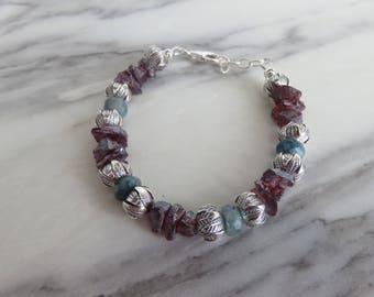 Luxury bracelet, Semi precious stones bracelet, Garnet, Chrysocolla, filigree Sterlimg Silver beads, lobster clasp