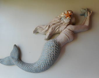 Seashell Wall Mermaid-Mermaid With Shells-Seashell Art-Beach Decor-Mermaid Wall Sculpture
