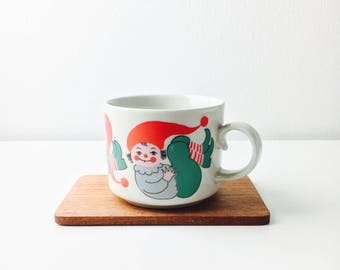 "Very rare vintage Arabia Finland ceramic Christmas mug named ""Joulu tunttu"" by Anja jaatinen-Winquist, 1970s - Made in Finland"