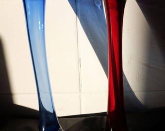 Blue & Red Handmade Solid Glass Single Flower Vase
