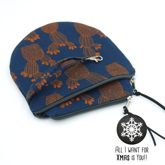 """Pair Blue and coral Pochette """"prickly pears"""" medium + Small-Round pouches, Special Xmas 2017"""
