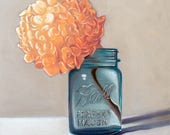 Jar of Peach Hydrangeas - Original Floral Still Life Oil Painting on Hardboard Panel by Lauren Pretorius