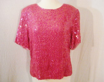 Pink Sequin Beaded Top Blouse Vintage effeci Cotton Top Glam Chic M