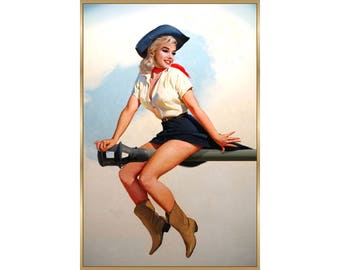 Marilyn Monroe Cowgirl on Cannon Unique Exclusive Original Pin Up Poster Art Print 238