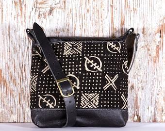Black Leather Boho Bag - Black Leather Cross Body Bag- Black Boho Bag - Ethnic Leather Bags - African Mud Cloth Bag