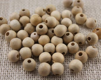 Vintage Large Hole Natural 12mm Wood Beads (40 Pieces)