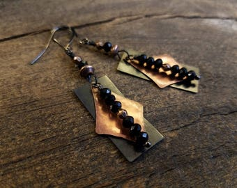 Boho Earrings, Metal Earrings, Copper Earrings, Black Earrings