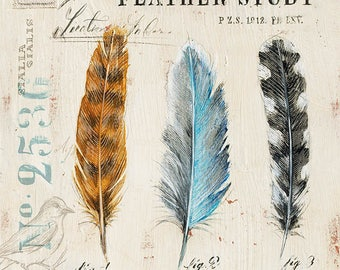 Feather Print, Feather Illustration, Feather Decor, Feather Art, Feather Wall Art