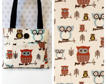 Hooty Owl Village Shoulder Bag /Small  Purse / Magnetic Snap Closure