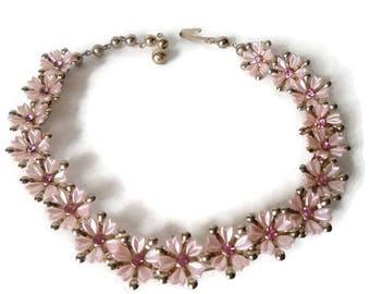 On Sale Pink Choker Necklace Thermoset Plastic Rhinestone Flowers