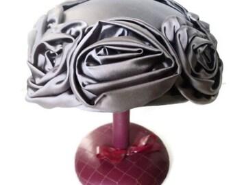 On Sale Vintage Hat Pillbox  Lavender Purple Satin Roses