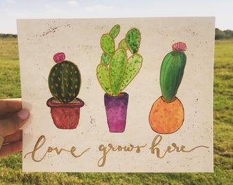 Watercolor Cacti Quote