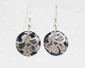 Black Silver Flower Earrings