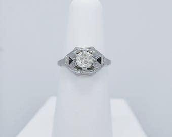 Art Deco .75ct. Diamond & Sapphire Antique Engagement Ring 18K White Gold - J36608