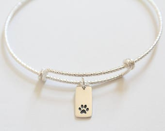 Sterling Silver Bracelet with Sterling Silver Paw Print Charm, Paw Print Bracelet, Paw Print Rectangle Charm Bracelet, Paw Print Pendant