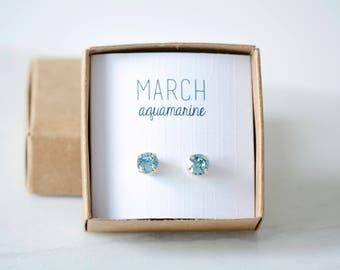March Birthstone Earrings - Aquamarine Studs - Birtstone Studs - Birthstone Earrings - Birthstone Jewelry - Birthstone Ear Studs