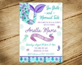 Little Mermaid / Under the Sea / Birthday Party Digital Invitation