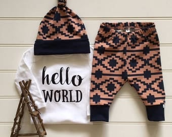 NEW! Aztec River/Clay and Navy/Newborn Outfit/Bring Home Outfit/Toddler Leggings