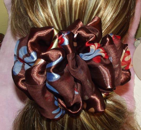 Becky Bows ~OOAK ROSETTE Barrette Hand crafted giant huge Scarf BIG hair bow Women or Girls brown blue red