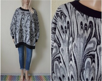 Metallic Sweater Grey sparkly glitter thread silver top Jumper Womens Vintage 90s Oversized 4 X Extra Large