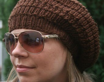 BERET, Women's Hand-knitted beret, brown beret, brown hat, Slouchy Beanie hat, Knitted women's hats, Fall Fashion, Gift, Women's accessories