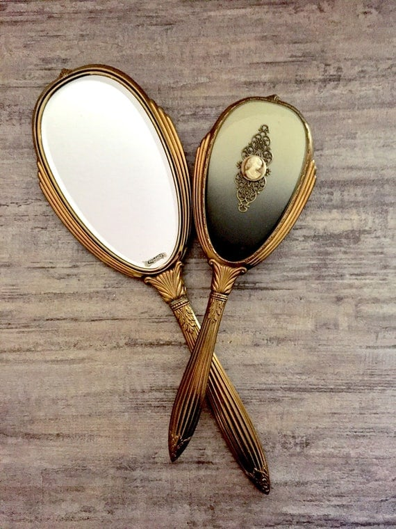 antique hand mirror and brush set. like this item? antique hand mirror and brush set p