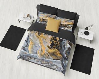 Gold and Black Marble Duvet Cover or Comforter, art deco style, modern marble, unique elegant,  bedroom decor